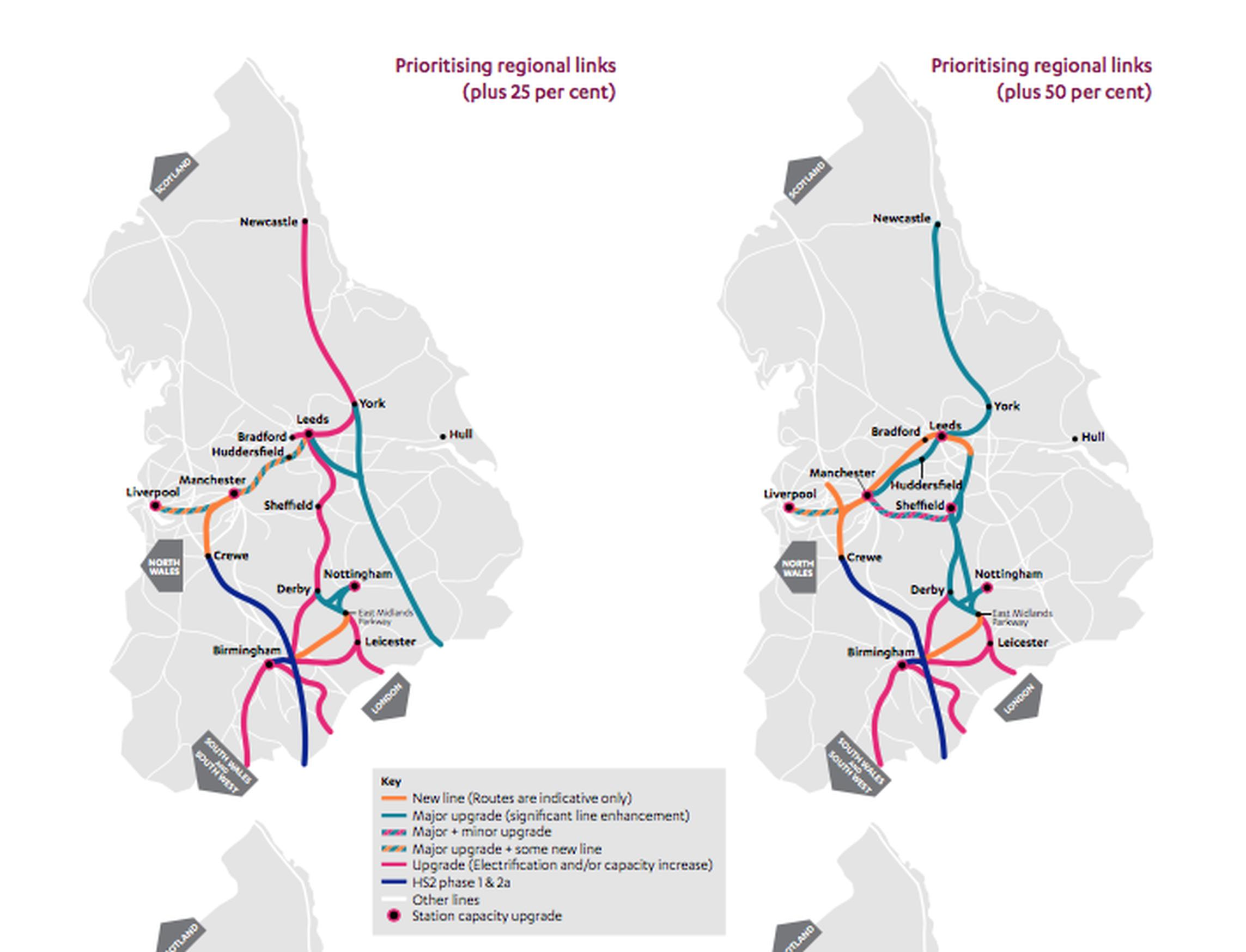 The NIC?recommends the 'prioritising regional links' scenario with spending of 25 per cent above baseline (left). The map on the right shows what could be delivered with expenditure 50 per cent above baseline