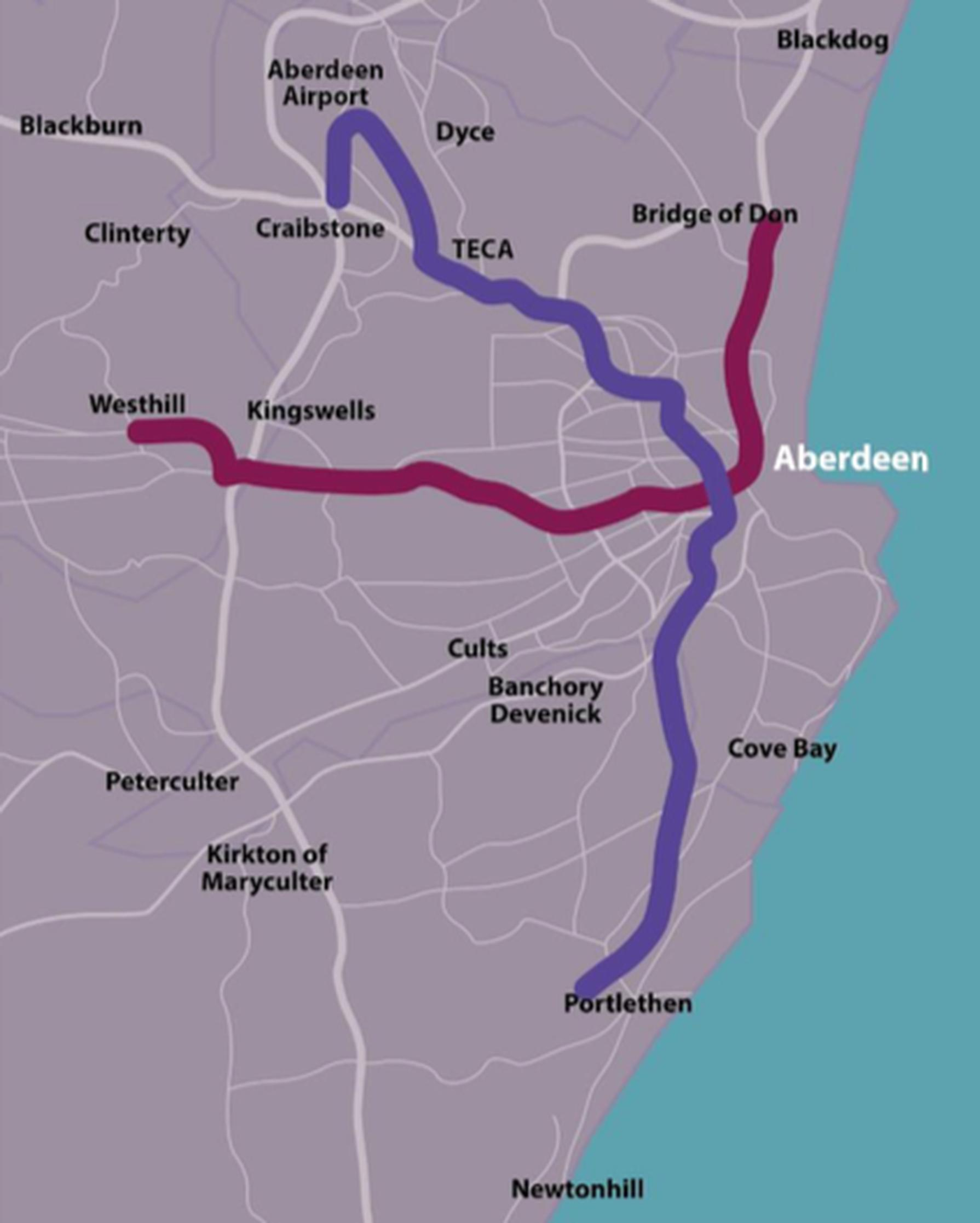 Indicative potential routes for Aberdeen Rapid Transit (ART)