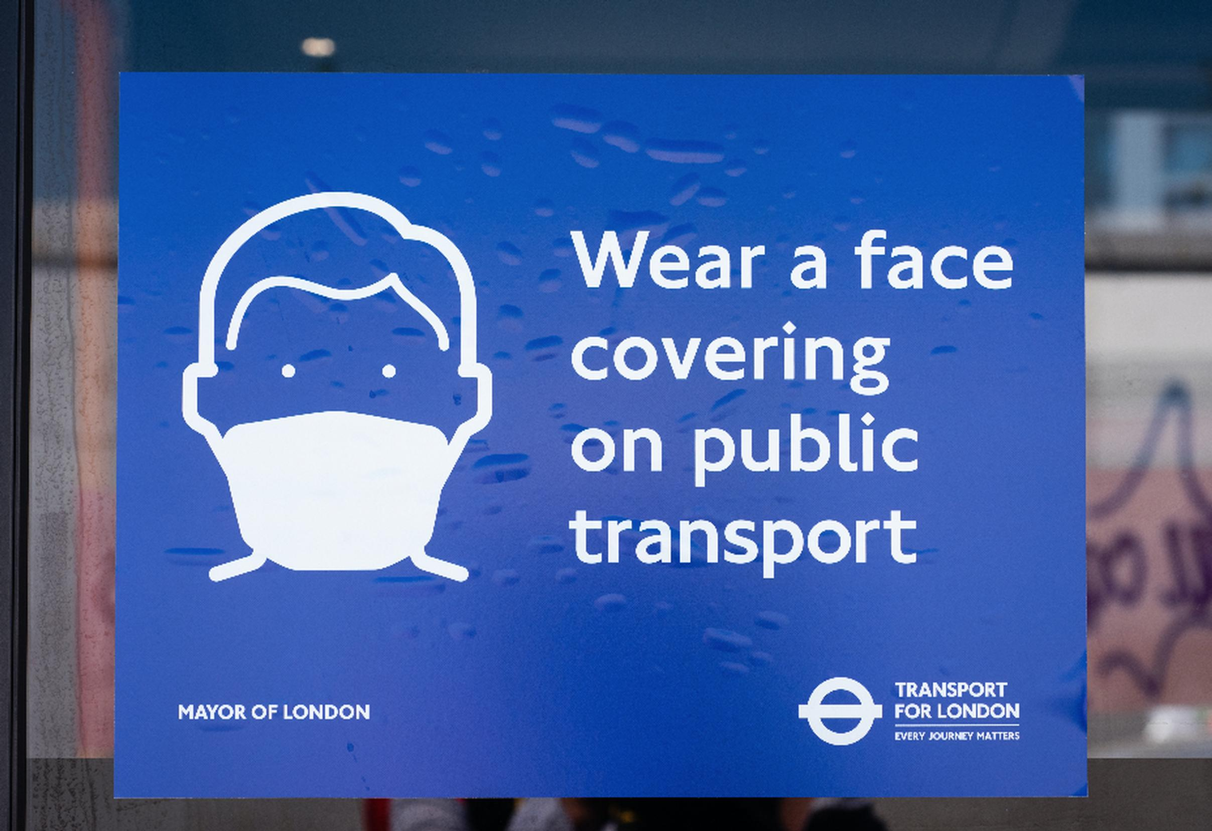 Those who need to use public transport in London are advised to wear a face covering unless exempt and maintain social distancing