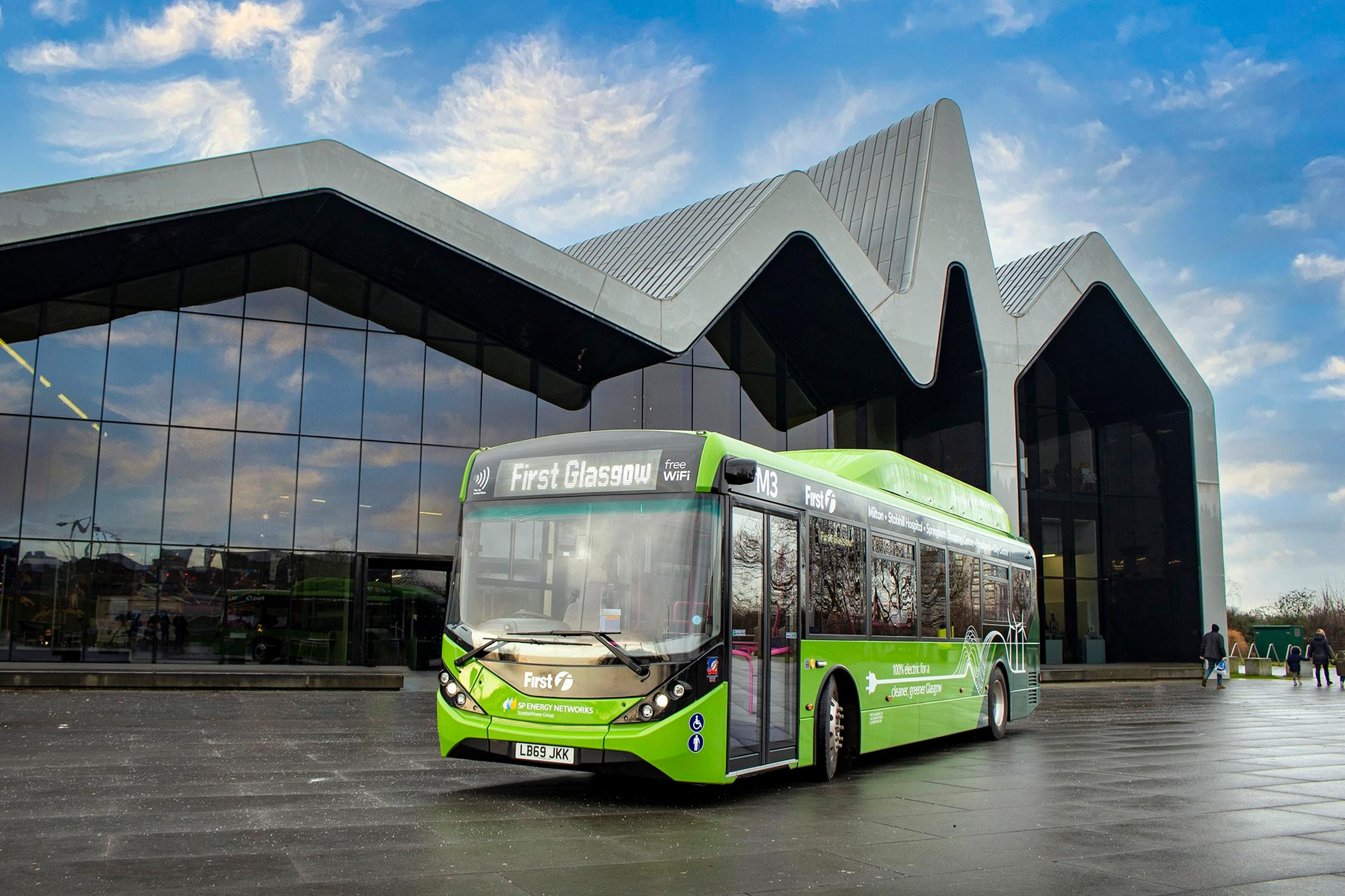 First Glasgow has 57 electric single deck buses on order from BYD ADL. Pictured is one of two vehicles the operator took delivery of in 2019