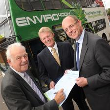 Angus Adams and Geoff Inskip of Centro sign up to the new charter with Dean Finch of NEG