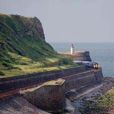 A Northern service departs from Whitehaven on the Cumbrian Coast
