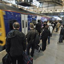 Passengers at Leeds Station. On some corridors, 70% of peak commuter trips into Leeds are by rail