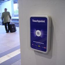 Touchpoints are provided to allow travellers to check in with their mobiles at the begining and end of their journeys.