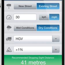The new iPhone app from Phil Jones Associates, StopDist, uses the Stopping Sight Distance (SSD) calculation formula in MfS2