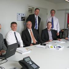 The model team. Seated (left to right): David Simmonds of consultant DSC; Transport for South Hampshire's project co-ordinator Stuart Baker; project consultant Steve Williamson; Ian Burden from MVA; and TfSH project director Keith Willcox. Standing (l-r): Chris Pownall from MVA and Dave Carter, the project director